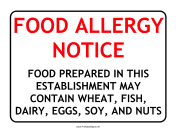 Allergy Notice