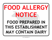 Allergy Notice Dairy
