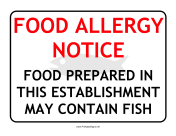 Allergy Notice Fish