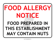 Allergy Notice Nuts