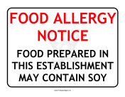 Allergy Notice Soy