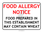 Allergy Notice Wheat