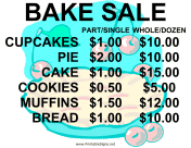 Bake Sale with Price List