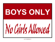 Boys Only Sign