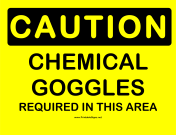 Caution Chemical Goggles Required