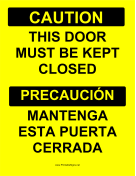 Door Must Be Closed Bilingual