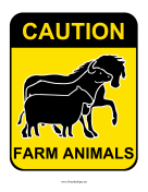 Caution Farm Animals