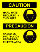Hard Hats Required Bilingual
