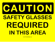 Caution Safety Glasses Required