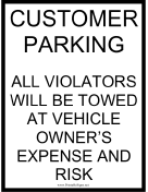 Customer Parking Tow Warning