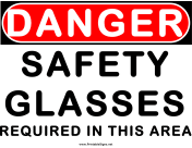 Danger Area Requires Safety Glasses