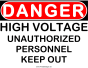 Danger High Voltage UA