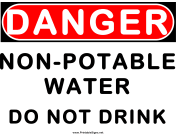 Danger Non Potable Water