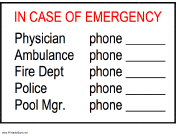 In Case Of Emergency - Phone Numbers