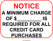 Minimum Charge Sign