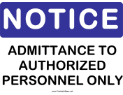 Notice Admittance to Auth Personnel