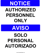 Authorized Personnel Bilingual