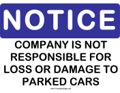 Notice Company Not Responsible Cars