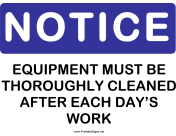 Notice Equipment Cleaning