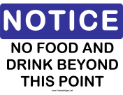 Notice No Food and Drink