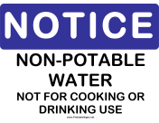 Notice Non Potable Water No Drinking