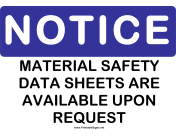 Notice Safety Data Sheets Available