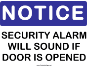 Notice Security Alarm