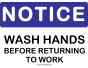 Notice Wash Hands