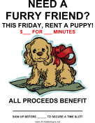 Rent a Puppy Fundraiser Sign-Blank
