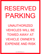 Reserved Parking Tow Warning