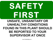 Safety Unsanitary