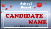School Board Sign Palm Cards
