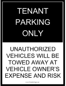 Tenant Parking Tow Warning Black