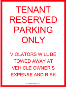 Tenant Parking Tow Warning Red