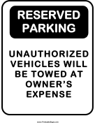 Notice Reserved Parking