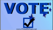 Vote Sign Blue Palm Cards