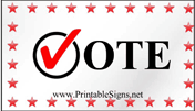 Vote Sign Palm Cards