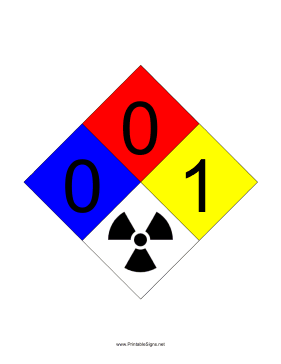 NFPA 704 0-0-1-RADIATION Sign