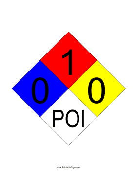 NFPA 704 0-1-0-POI Sign