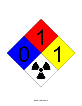 NFPA 704 0-1-1-RADIATION Sign