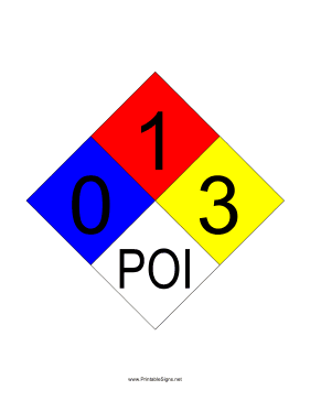 NFPA 704 0-1-3-POI Sign