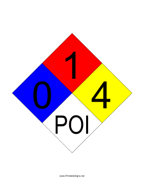 NFPA 704 0-1-4-POI Sign