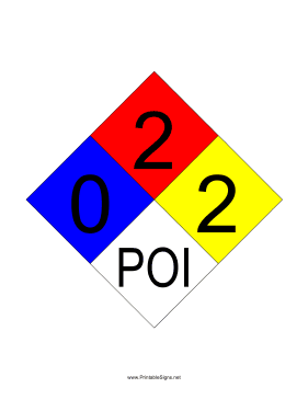 NFPA 704 0-2-2-POI Sign