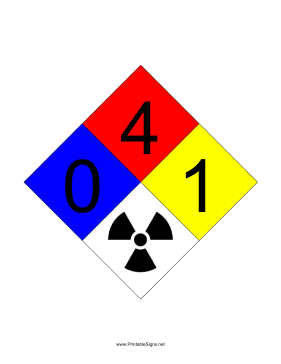 NFPA 704 0-4-1-RADIATION Sign