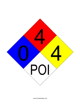 NFPA 704 0-4-4-POI Sign