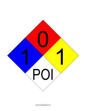 NFPA 704 1-0-1-POI Sign