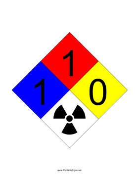 NFPA 704 1-1-0-RADIATION Sign