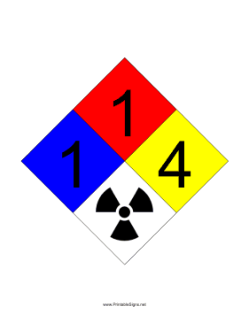 NFPA 704 1-1-4-RADIATION Sign