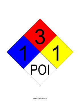 NFPA 704 1-3-1-POI Sign