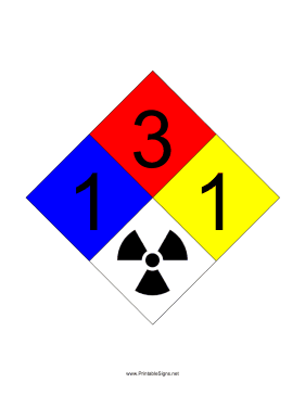 NFPA 704 1-3-1-RADIATION Sign